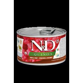 Влажный корм для собак Farmina N&D Quinoa Skin & Coat беззерновой, для здоровья кожи и шерсти, с олениной, с киноа и с кокосом (для мелких пород) 140 г