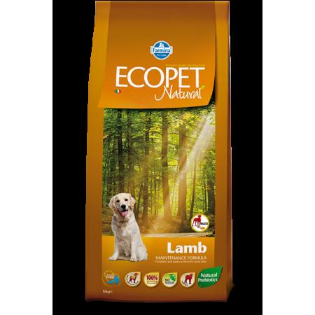 Сухой корм для собак Farmina Ecopet Natural при проблемах пищеварения и аллергии, с ягненком (для мелких пород) 12 кг