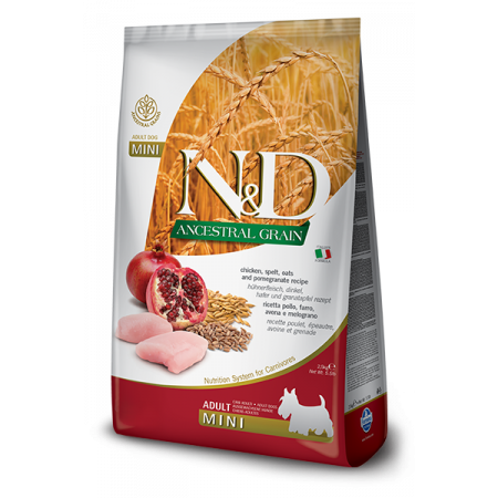 Сухой корм для собак Farmina N&D Ancestral Grain низкозерновой, с курицей, спельтой, с овсом и с гранатом (для мелких пород) 2.5 кг
