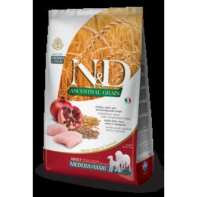 Сухой корм для собак Farmina N&D Ancestral Grain низкозерновой, с курицей, спельтой, с овсом и с гранатом (для средних и крупных пород) 2.5 кг