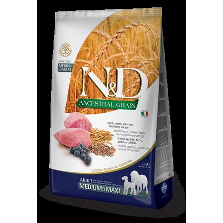 Сухой корм для собак Farmina N&D Ancestral Grain низкозерновой, с ягненком, спельтой, с овсом и с черникой (для средних и крупных пород) 12 кг