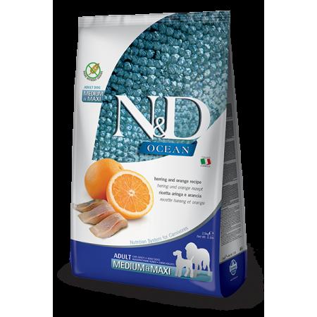 Сухой корм для собак Farmina N&D Ocean беззерновой, с сельдью, с апельсином (для средних и крупных пород) 2.5 кг