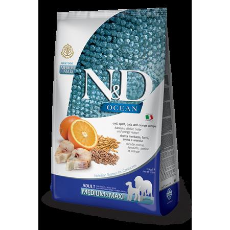 Сухой корм для собак Farmina N&D Ocean низкозерновой, с треской, спельтой, с овсом и с апельсином (для средних и крупных пород) 2.5 кг