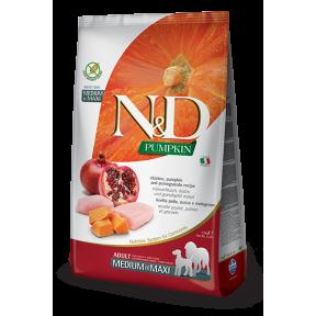 Сухой корм для собак Farmina N&D Pumpkin беззерновой, с курицей, с тыквой, с гранатом (для средних и крупных пород) 12 кг