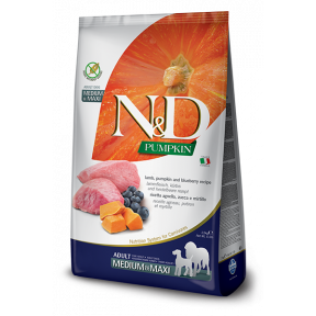 Сухой корм для собак Farmina N&D Pumpkin беззерновой, с ягненком, с тыквой, с черникой (для средних и крупных пород) 12 кг