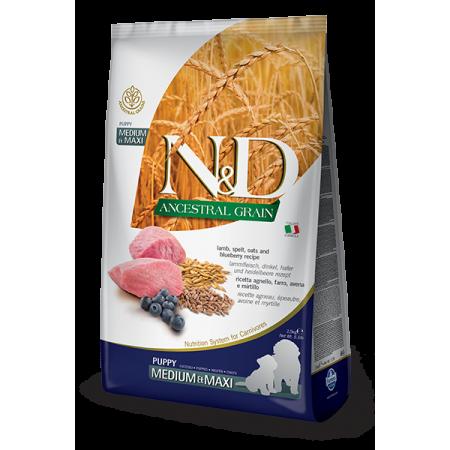 Сухой корм для щенков Farmina N&D Ancestral Grain низкозерновой, с ягненком, спельтой, с овсом и с черникой (для средних и крупных пород) 12 кг