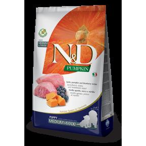 Сухой корм для щенков Farmina N&D Pumpkin беззерновой, с ягненком, с тыквой, с черникой (для средних и крупных пород) 12 кг