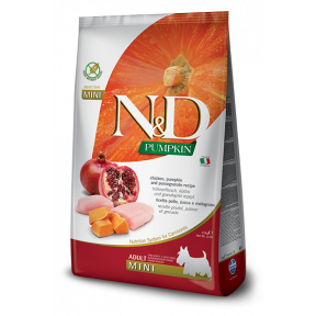 Сухой корм для собак Farmina N&D Pumpkin беззерновой, с курицей, с тыквой, с гранатом (для мелких пород) 7 кг