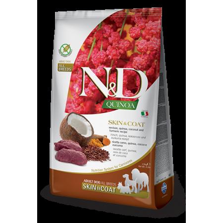 Сухой корм для собак Farmina N&D Quinoa беззерновой, для здоровья кожи и блеска шерсти, с олениной, с киноа, с кокосом, с куркумой 2.5 кг