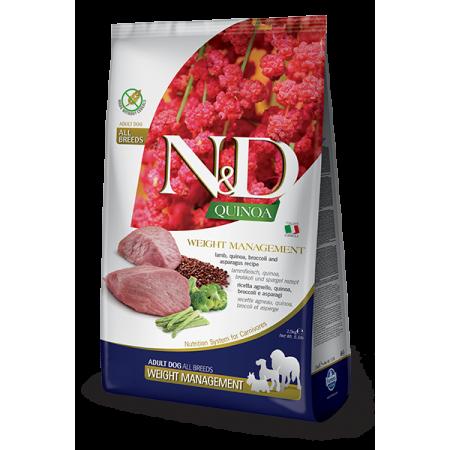Сухой корм для собак Farmina N&D Quinoa беззерновой, при склонности к избыточному весу, с ягненком, с киноа, с брокколи, со спаржей 7 кг