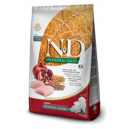 Сухой корм для щенков Farmina N&D Ancestral Grain низкозерновой, с курицей, спельтой, с овсом и с гранатом (для средних и крупных пород) 2.5 кг