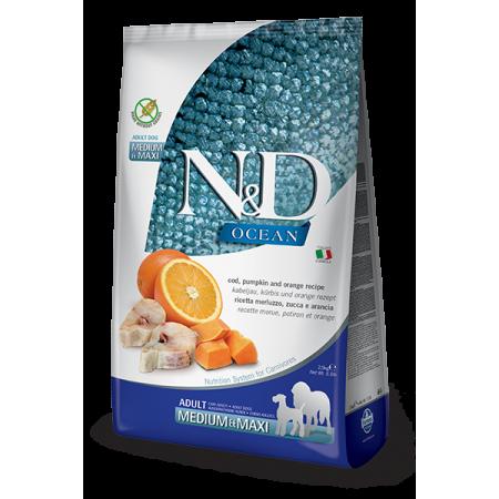 Сухой корм для собак Farmina N&D Ocean беззерновой, с треской, с тыквой, с апельсином (для средних и крупных пород) 12 кг