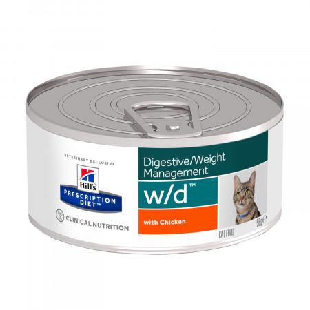 Влажный диетический корм для кошек Hill's Prescription Diet Digestive/Weght Management w/d при проблемах с ЖКТ, при избыточном весе, с курицей (паштет) 156 г