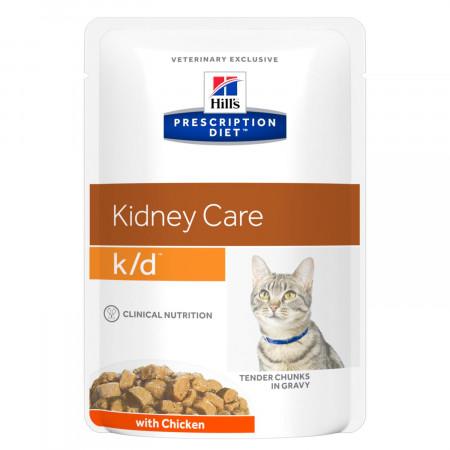 Влажный диетический корм для кошек Hill's Prescription Diet Kidney Care k/d при проблемах с почками, с курицей 85 г