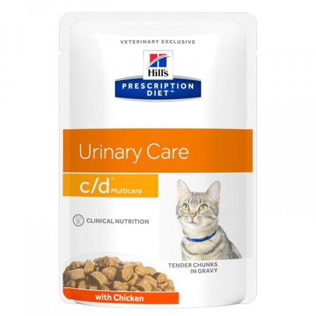Влажный диетический корм для кошек Hill's Prescription Diet Urinary Care c/d Multicare для профилактики МКБ, паучи с курицей 85 г