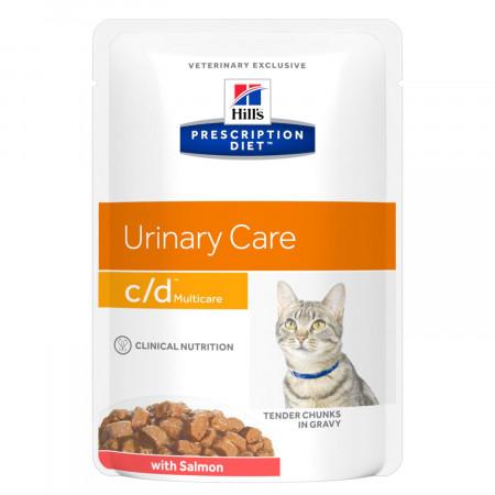 Влажный диетический корм для кошек Hill's Prescription Diet Urinary Care c/d Multicare для профилактики МКБ, паучи с лососем 85 г