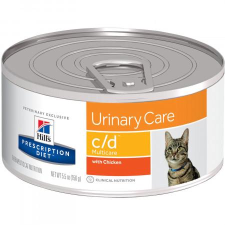 Влажный диетический корм для кошек Hill's Prescription Diet Urinary Care c/d Multicare для профилактики МКБ, с курицей 156 г