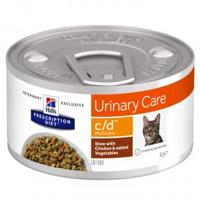 Влажный диетический корм для кошек Hill's Prescription Diet Urinary Care Multicare c/d для лечения МКБ, рагу с курицей и овощами 82 г