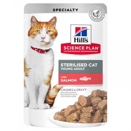 Влажный корм для стерилизованных кошек Hill's Science Plan, с лососем (кусочки в соусе) 85 г