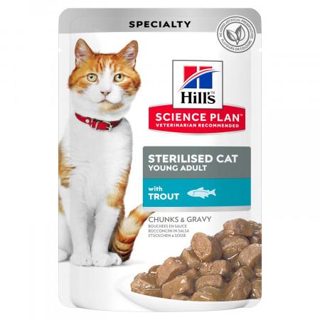 Влажный корм для стерилизованных кошек Hill's Science Plan, с форелью (кусочки в соусе) 85 г