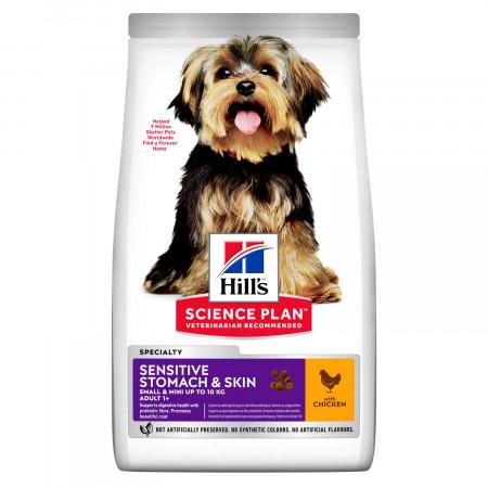 Сухой корм для собак Hill's Science Plan Sensitive Stomach & Skin при чувствительном пищеварении, с курицей (для мелких пород) 3 кг
