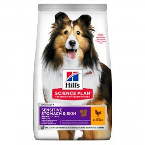 Сухой корм для собак Hill's Science Plan Sensitive Stomach & Skin при чувствительном пищеварении, с курицей (для средних пород) 12 кг