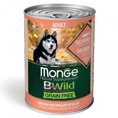 Влажный корм для собак Monge BWild беззерновой, с лососем с тыквой и с цукини для всех пород 400 г