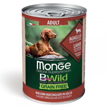 Влажный корм для собак Monge BWild беззерновой, с ягненком с тыквой и с цукини всех пород 400 г