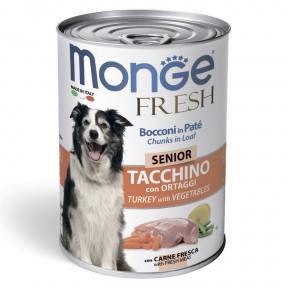 Влажный корм для пожилых собак Monge Fresh Сhunks in Loaf мясной рулет с индейкой и овощами 400 г