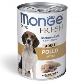 Влажный корм для собак Monge Fresh Сhunks in Loaf мясной рулет с курицей 400 г