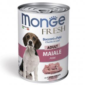 Влажный корм для собак Monge Fresh Сhunks in Loaf мясной рулет со свининой 400 г