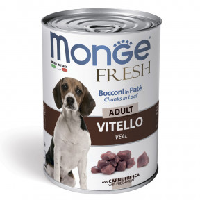 Влажный корм для собак Monge Fresh Сhunks in Loaf мясной рулет с телятиной 400 г