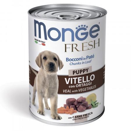 Влажный корм для щенков Monge Fresh Сhunks in Loaf мясной рулет с телятиной и овощами 400 г