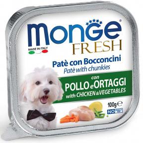 Влажный корм для собак Monge Fresh с курицей и с овощами 100 г