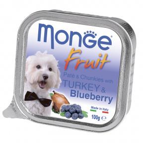Влажный корм для собак Monge Fruit индейка с черникой 100 г