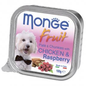 Влажный корм для собак Monge Fruit курица с малиной 100 г