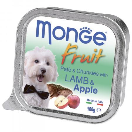 Влажный корм для собак Monge Fruit ягненок с яблоком 100 г