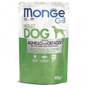 Влажный корм для собак Monge Grill беззерновой с ягненком и овощами 100 г