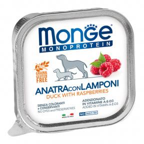 Влажный корм для собак Monge Monoprotein утка с малиной 150 г