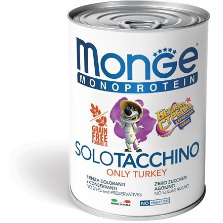 Влажный корм для собак Monge Monoprotein Белка и Стрелка, индейка 400 г