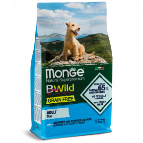 Сухой корм для собак Monge BWild беззерновой, анчоус с картофелем (для мелких пород) 2.5 кг