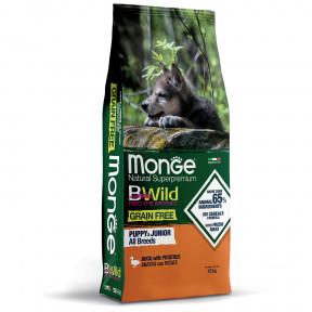 Сухой корм для щенков Monge BWild беззерновой, утка с картофелем 12 кг