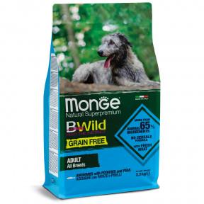 Сухой корм для собак Monge BWild беззерновой, анчоус с картофелем 2.5 кг