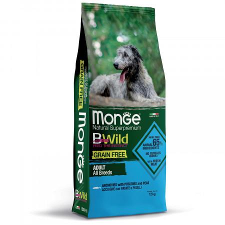 Сухой корм для собак Monge BWild беззерновой, анчоус с картофелем 12 кг