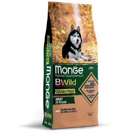 Сухой корм для собак Monge BWild беззерновой, лосось с горохом 12 кг