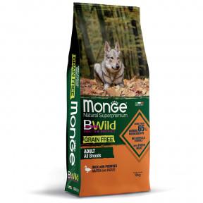 Сухой корм для собак Monge BWild беззерновой, утка с картофелем 12 кг