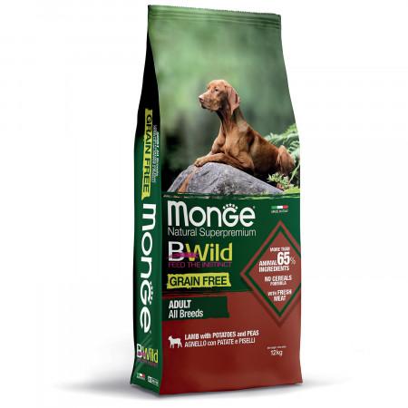 Сухой корм для собак Monge BWild беззерновой, ягненок с картофелем 12 кг