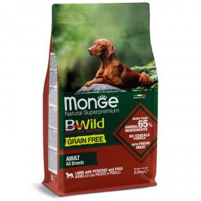 Сухой корм для собак Monge BWild беззерновой, ягненок с картофелем 2.5 кг