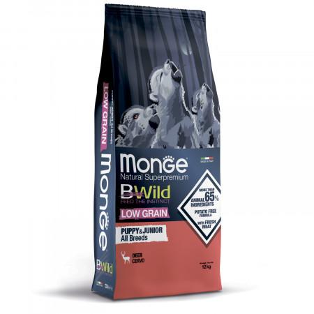 Сухой корм для щенков Monge BWild низкозерновой, оленина 12 кг