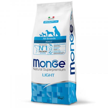 Сухой корм для собак Monge Dog Speciality line Light низкокалорийный, лосось с рисом 12 кг